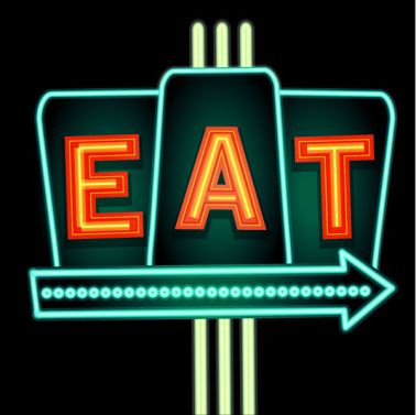 Late night retro Diner Eat neon sign